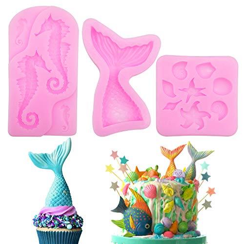 Molde de silicona para hornear de sirena, Molde Reutilizable para Pastel de Cola de Pez de Concha Oceánica 3D (3 piezas)
