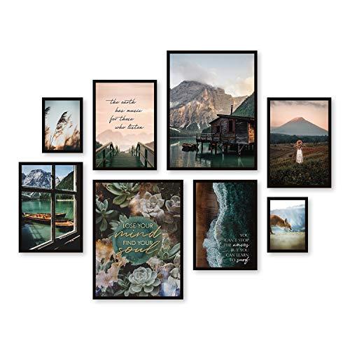 ARTFAVES® Poster Set - Beautiful Earth   Wanddeko Wohnzimmer & Schlafzimmer   8 Moderne Wandbilder   Bilder Natur, Berge, See, Landschaft, Dolomiten, Boot, Boho, Pampasgras   ohne Bilderrahmen