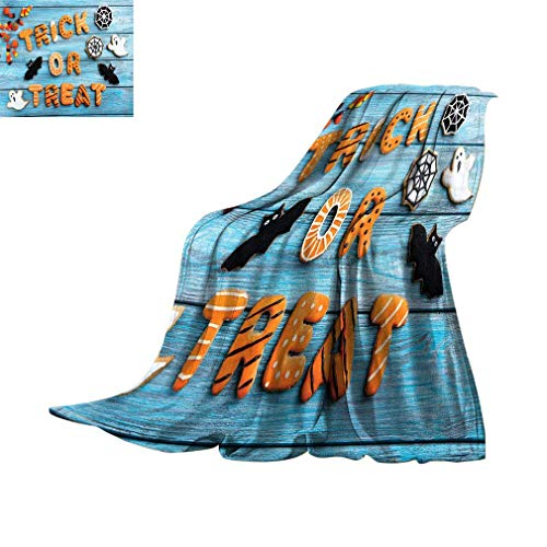 ERshuo Vintage Halloween Fleece Blankets, Trick Or Treat Cookie Wooden Table Ghost Bat Web Halloween Super Soft Blankets For Bed Couch Sofa, 70' X 60' Blue Amber Multicolor 48x60IN