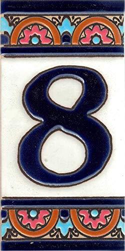 TORO DEL ORO Números casa. Numeros y Letras en azulejo. Ceramica esmaltada, Pintados a Mano técnica Cuerda Seca. Nombres y direcciones. Diseño Arco Azul 5,5x10,5 cms (Número ocho '8')