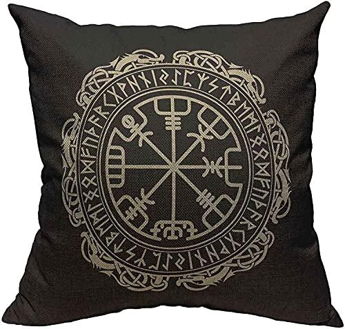 Funda de almohada con diseño de runas nórdicas, diseño de dragón y círculo, vikingo, brújula, brújula, diseño escandinavo, color negro, 45,7 x 45,7 cm