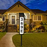 Solar House Address Numbers Sign, Waterproof Lighted Up Address Plaques with Stake, Solar Powered House Numbers Lights for Outside, Home, Yard, Street, House (Warm White / Cool White)