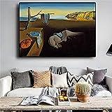 Salvador Dali La persistencia de los relojes de la memoria Pintura de lienzo surrealista Impresión de póster Imagen de arte de pared para sala de estar 29.7X42cm Sin marco