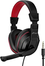pTron Studio Lite Stereo Sound Wired Headphones Ergonomic Over Ear Headset for Work from Home Adjustable Mic Integrated Volume Control 3 5mm Aux Jack 1 3 Meter Tangle Free Cord Black Red