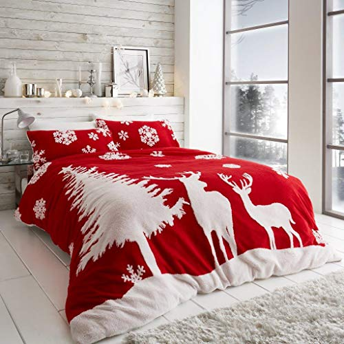 Artistic Fashionista* NEW Soft Warm & Cosy Christmas Teddy Woodland Scene Duvet Quilt Cover Pillowcases Bedding Set (Red, Double)