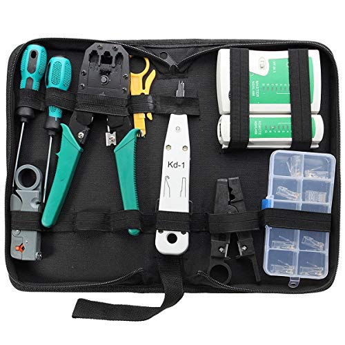 Generic Brands Riparazione Auto Combinazione di Rete del PC del Cavo di Legare del Tester di Piegatura Cutter Punch Tools Kit Set 11pcs per DIY di Fissaggio