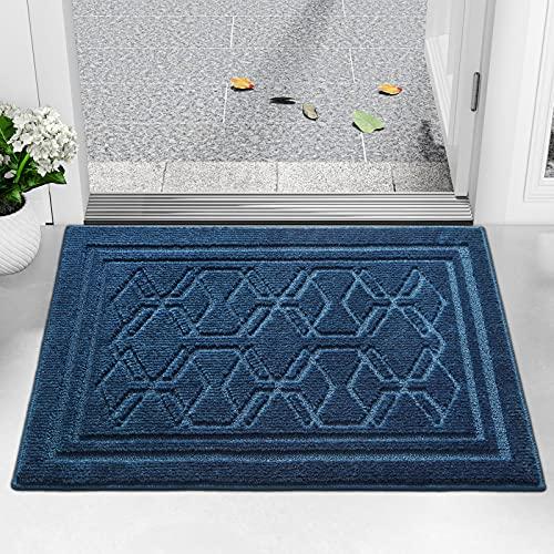 Color&Geometry Felpudo Entrada Casa 90 x 150 cm Alfombra para Puertal Felpudos Atrapar Suciedad Interior y Exterior Alfombras Lavable Absorbente Azul