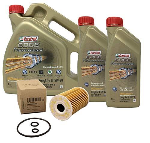 Castrol Aceite para Motor Edge Professional LongLife III 5W-30, 6 litros + Filtro de Aceite Original 03L115562