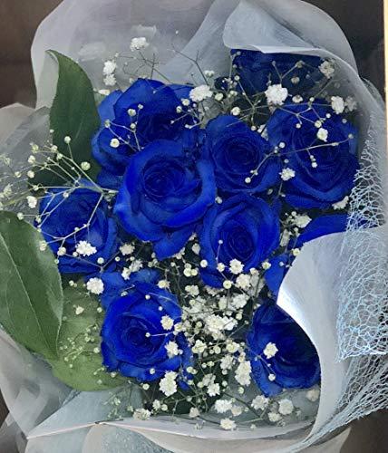 【生花花束】 青バラ 「奇跡」「神の祝福」プロポーズ 誕生日 記念日 花束 青いバラ花束 ベンデラ 薔薇 宅配送 お祝 ギフト プレゼント 送別会 退職祝いカスミ草、グリーン付き バラの花束(30本)