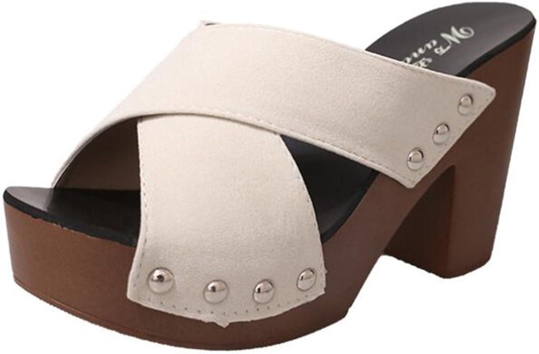 Women's shoes Frosted Summer Comfort Heels Creepers Ladies Slippers & Flip-Flops Wedge Heel Peep Toe for Office & Career