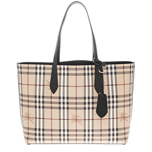 """Open top for on-the-go access, Leather hangtag Approximate 11""""H x 14""""W x 4.8""""D. 2 in 1 color that can be reverse to haymarket check or reverse in black color. It comes with Burberry dustbag, care card and burberry security tag attached."""