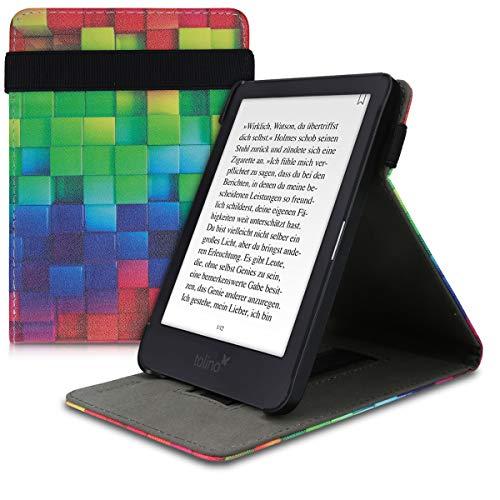 kwmobile Hülle kompatibel mit Tolino Shine 3 - Schlaufe Ständer - e-Reader Schutzhülle - Regenbogen Würfel Mehrfarbig Grün Blau