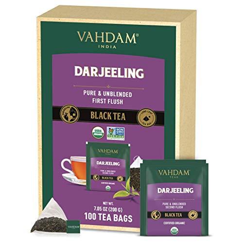 VAHDAM, Bio-Darjeeling Schwarztee aus dem Himalaya (100 Teebeutel)   Mittleres Koffein, Hochenergie-Tee  100% reine unvermischte Darjeeling Teebeutel aus Indien   Brau Heiß, Eis- oder Kombucha-Tee
