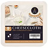 Precut Cheesecloth, 25 x 25'' 2 Pack, Weave 50 x 50, Ultra Fine Cheesecloth for Straining & Cooking, 100% Combed Unbleached Cotton Cheesecloth for Making Cheese.