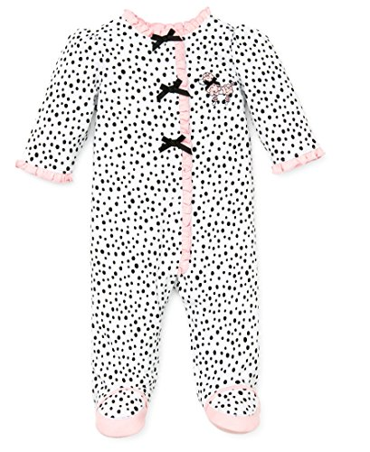 Little Me Baby-Girls Newborn Perfect Poodle Footie, White/Black, 3 Months