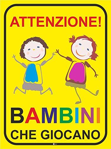 easydruck24de Hinweis-Schild Achtung! Spielende Kinder I 40 x 60 cm I Italienisch I Vorsicht, Warnung, Hinweis auf Kinder, Bitte langsam Fahren, Spielstraße I hin_427