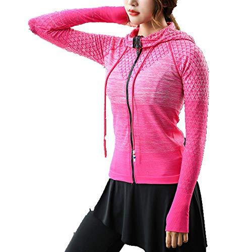 U/A traje de yoga degradado se refiere a una chaqueta con capucha con cierre de cordón Rojo rosso S