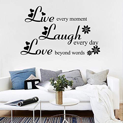 Liebe über Worte lachen jeden Tag leben jeden Moment inspirierende Zitate Vinyl abnehmbare Wandaufkleber Wohnzimmer Wohnkultur 46x86 cm