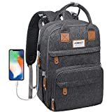 Diaper Bag Backpack, Hobest Multifunctional Travel Back Pack with Built-in USB Charging Port,Large Baby Bags for Mom and Dad, Maternity Nappy Bags with Insulated Pockets & Stroller Straps, Dark Gray