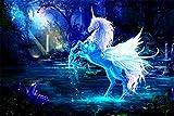 Blaues Einhorn Fantasy Fabelwesen XXL Wandbild Kunstdruck
