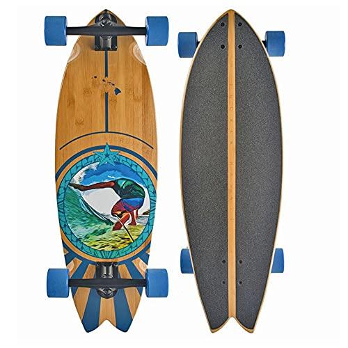 JUCKER HAWAII PAU Hana Monopatín Cruiser Longboard - White Trucks - Surfcruiser Fishtail Tabla Larga de Bambú