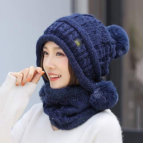 GFDFD Sombreros de Invierno para Mujeres Lentejuelas de Punto Sombrero Bufanda Lindo Tres pompón Oreja Gorros cálidos Gorros Cuello Calentador Punto 2 Piezas Conjunto