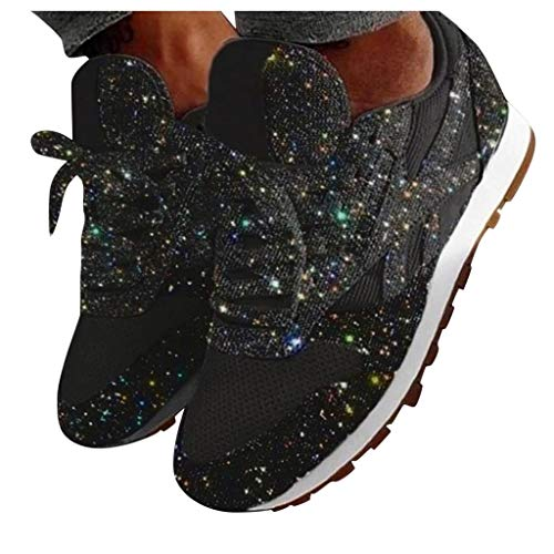 Baiggooswt Women's Fashion Casual Non-Slip Flat Breathable Crystal Bling Lace Up Sport Shoes Ankle Sneakers(Black,US:4.5)