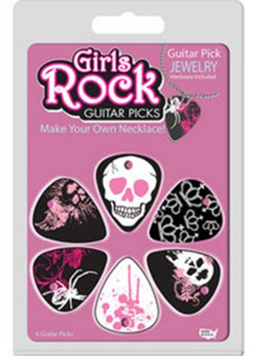 Hot Picks 1 grnbrcs02 meisjes rock plectrum armband en halsketting Pack - roze