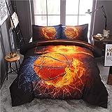 Juego de edredón de baloncesto individual para niños y adolescentes, ropa de cama deportiva de 3 piezas (1 edredón de baloncesto con 2 fundas de almohada), juego de edredón reversible estampado