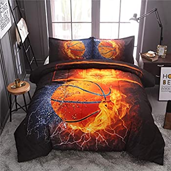 NTBED Basketball Comforter Sets Twin for Boys Teens 3-Pieces Sports Bedding  1 Basketball Comforter with 2 Pillow Shams ,Reversible Fire Printed Quilt Set