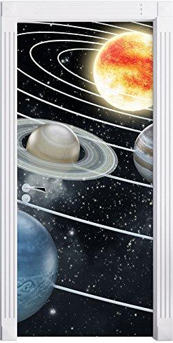 Stil.Zeit Möbel Système Solaire avec la planète comme Fond d'écran de la Porte, de la Taille: 200x90cm, Cadre de Porte, Porte Autocollants, décoration de Porte, Porte Autocollants