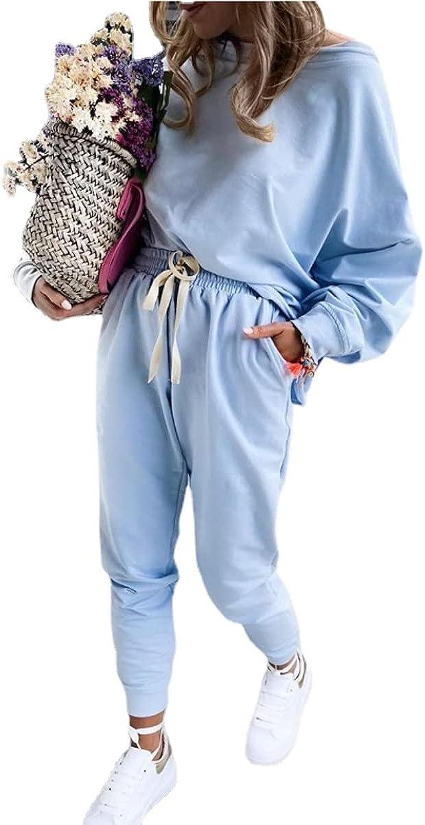 Women's Fashion Sweatshirt Suit Solid Color Long Sleeve Drawstring Trousers Sports Suit