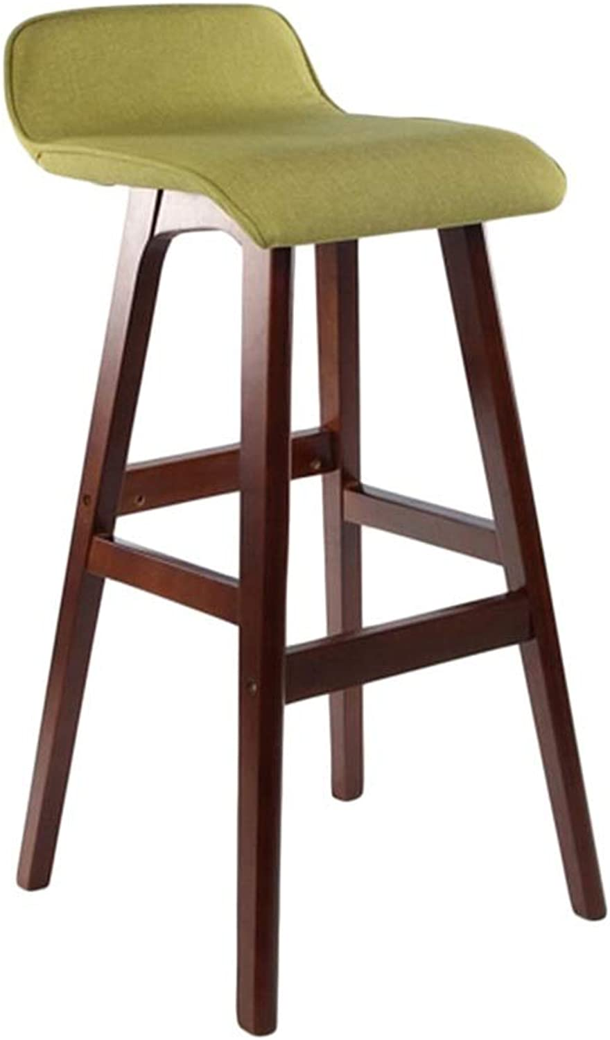 BARSTOOLRI Bar Stool with Backrest, Solid Wood Non-Slip Ergonomic Green Removable Cushion Cover High Chair for Living Room Kitchen Office Garden (Size   Short)