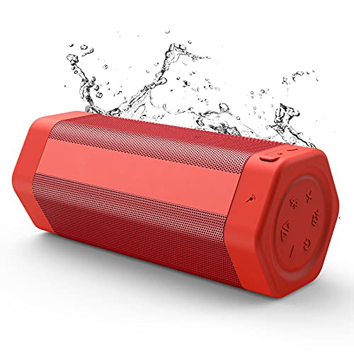 Bluetooth Speaker, Soundtank Portable Wireless Bluetooth Speaker with Bass Plus Mode, 20W Booming Sound, Waterproof IPX7, 24H Playtime, Stereo Pairing for Outdoor, Indoor, Travel (Red)