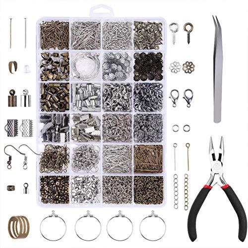 Yardwe Kit de fabricación de Joyas de 24 cuadrículas de Bricolaje Herramientas para Hacer bisutería con Accesorios para Reparación de Joyas