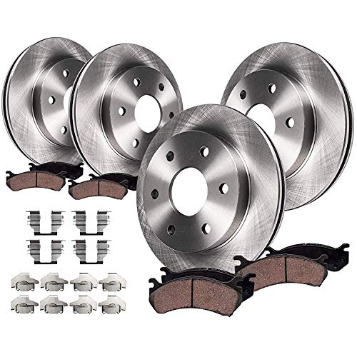 Detroit Axle - 4WD 6 Lug Front & Rear Disc Rotors + Brake Pads Replacement for Ford F-150 Lincoln Mark LT - 8pc set