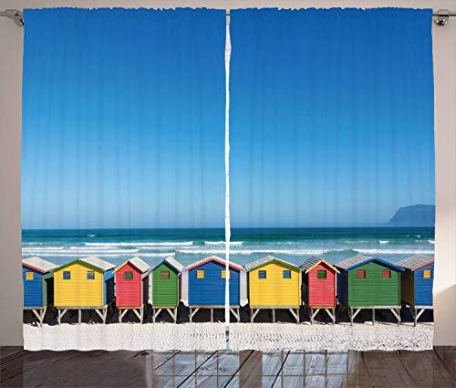ABAKUHAUS Reise Rustikaler Vorhang, Kapstadt, Süd Afrika, Wohnzimmer Universalband Vorhänge mit Schlaufen & Haken, 280 x 175 cm, Mehrfarbig