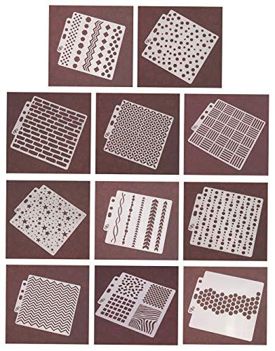 Ai-life 11 Stück quadratische Form Geometrisches Muster Bullet Journal Schablonen, Kunststoff Vorlagen DIY Malerei Zeichenschablonen für Planer/Notebook/Tagebuch/Scrapbook und Craft Projekte, 13x13cm
