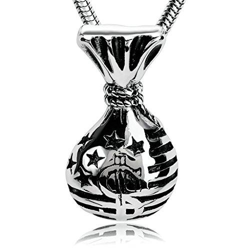 Epinki Herren Edelstahl Halskette, Silber Schwarz Spiegel Poliert Börse Form Anhänger Herrenkette Edelstahlanhänger Kette 2.3x4.1 cm