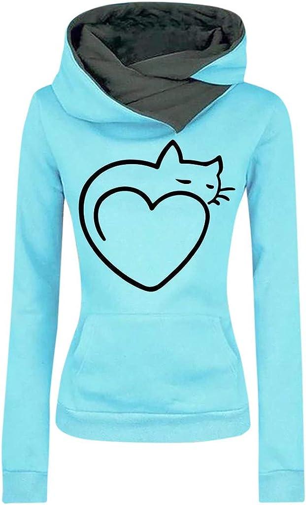 Girls' Hoodie, Misaky Pullover Sweatshirt Jumper Leisure Sports Cat Love Print Long Sleeve Pocket Hooded Blouse