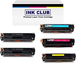 InkClub Compatible Laser Toner, Replacement for CB540A CB541A CB542A CB543A Color Toner Set (5 Pack : 2 Black, 1 Each Cyan, Yellow, Magenta)
