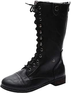 LADIES CALF HIGH BOOTS GIRLS WOMENS BIKER BOOT BLACK SCHOOL CASUAL SHOES SIZE3-8