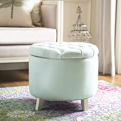 Safavieh Hudson Collection Irwin Round Storage Ottoman, Robin's Egg Blue
