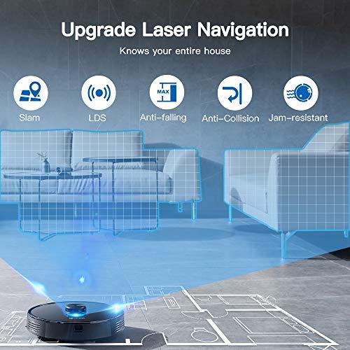 Proscenic M7 PRO WLAN Saugroboter, Staubsauger Roboter mit Laser-Navigation, App- und Alexa Steuerung, Saugroboter mit Wischfunktion, starke Saugkraft für Tierhaare und Teppiche - 2