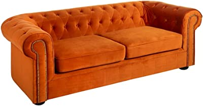Sofá Chester de 3 plazas clásico marrón de poliéster para ...
