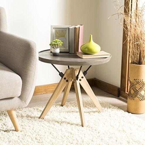 Safavieh VNN1027A Collection Farmond Beistelltisch für drinnen und draußen, modernes Beton, 50 cm, Dunkelgrau