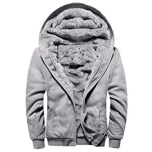 LUOYLYM 2019 Cappotto Camicia A Maniche Lunghe Autunno E Inverno Nuovo Maglione Ispessimento Maglione con Cappuccio Tinta Unita Cerniera Cardigan XL