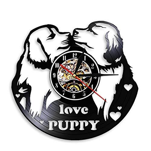 LIMN Reloj Regalo Moderno Perro Amantes Diseño Vinilo Disco Reloj de Pared Cachorro Animal Doméstico Colgante de Pared Decoración Reloj de Cuarzo Reloj Regalo para Cachorro Amante |