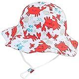 Taidor Baby-Sonnenhut mit niedlichem Druck, Sommer-Strandhut mit verstellbarem Kinnriemen für Kinder Gr. 12-24 Monate, Rote Krabbe