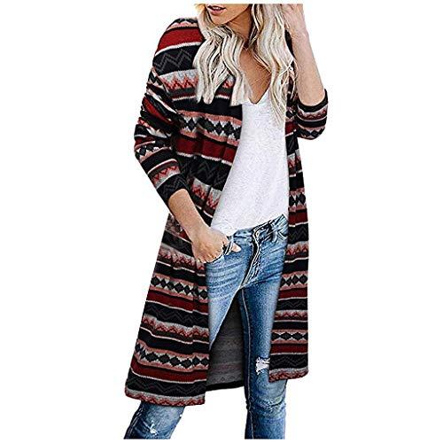 iHENGH Damen Herbst Winter Bequem Mantel Lässig Mode Jacke Frauen Langarm Leopardenmuster Tasche Mode Mantel Bluse T-Shirt Strickjacke Top(Rot, XL)